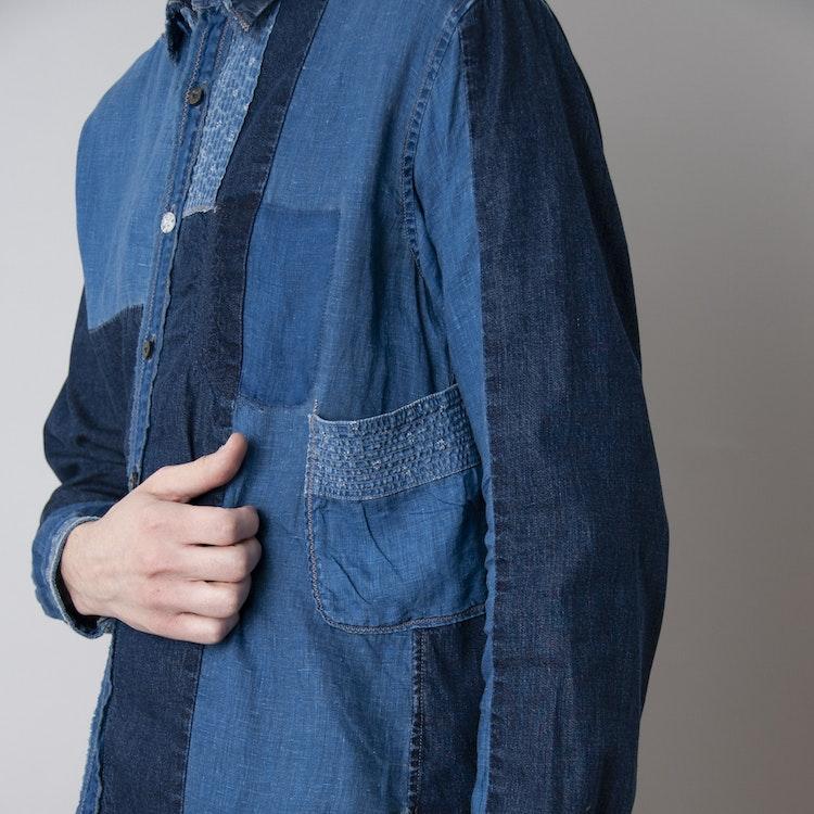 Cotton X Linen Indigo Patchwork Kathmandu Shirt