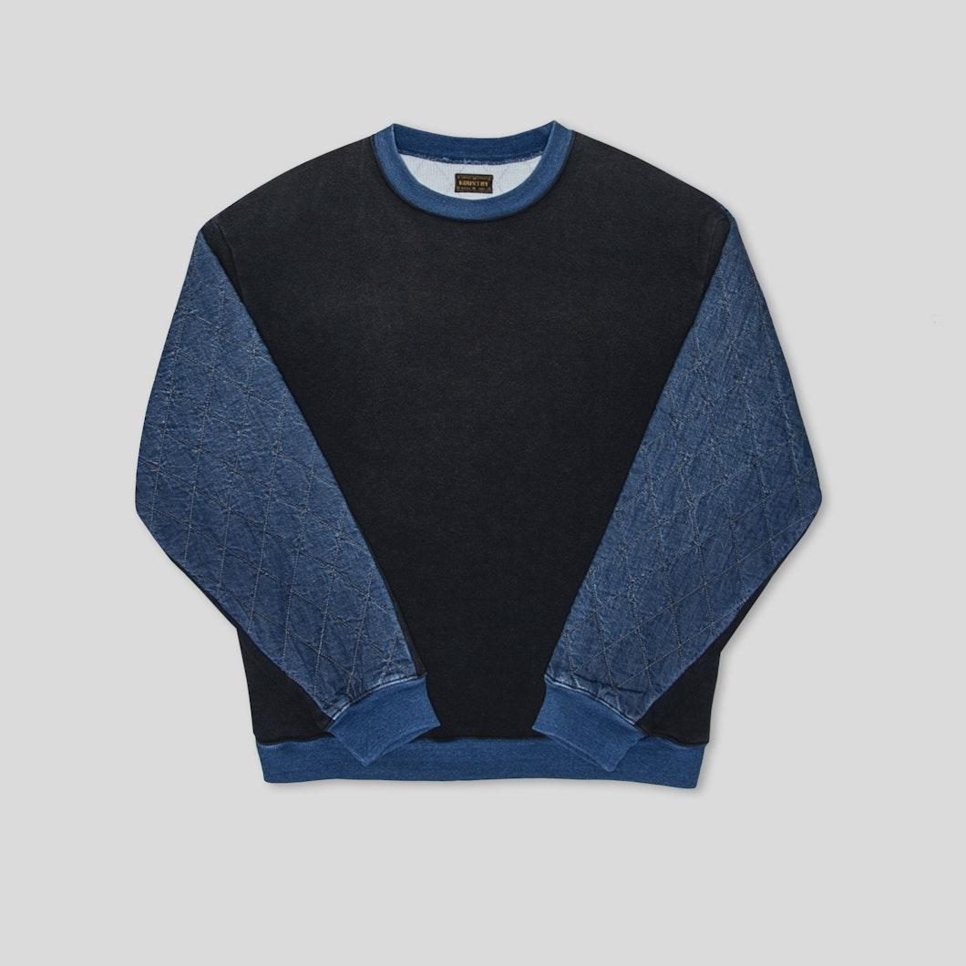 Fleece Knit x Denim Quilting Two-Tone Big Sweat
